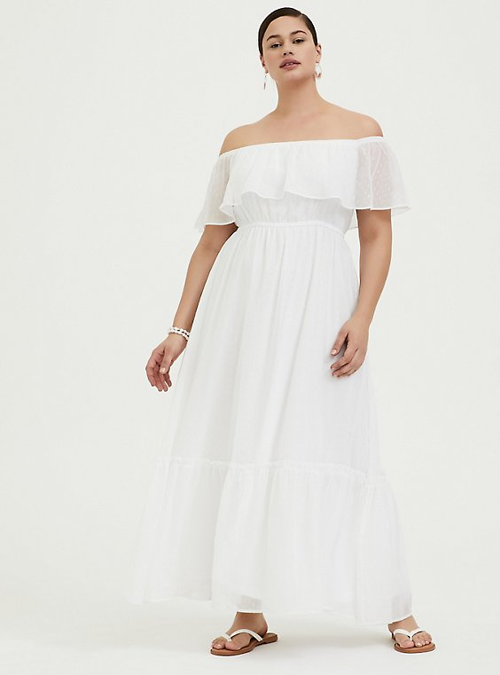 Plus Size White Chiffon Swiss Dot Off Shoulder Shirred Maxi Dress, , hi-res