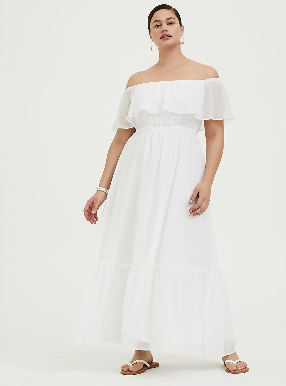 White Chiffon Swiss Dot Off Shoulder Shirred Maxi Dress, WHITE, hi-res
