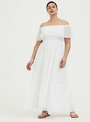 White Chiffon Swiss Dot Off Shoulder Shirred Maxi Dress, WHITE, hi-res