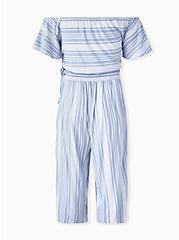 Light Blue Stripe Challis Crop Top & Culotte Pant Set , STRIPE - BLUE, alternate