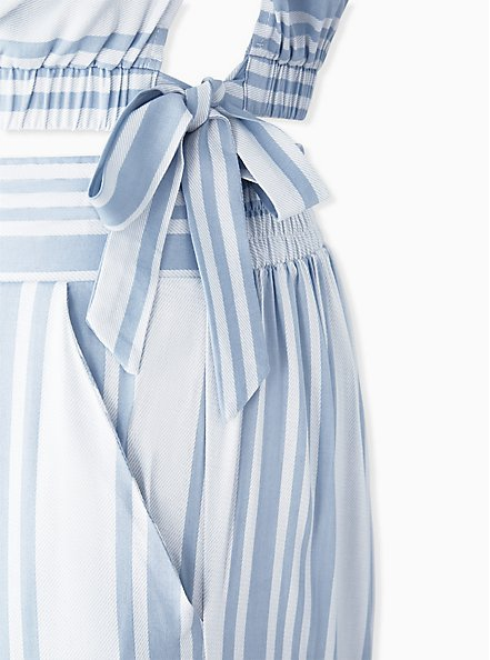 Light Blue Stripe Challis Crop Top & Culotte Pant Set , STRIPE - BLUE, alternate