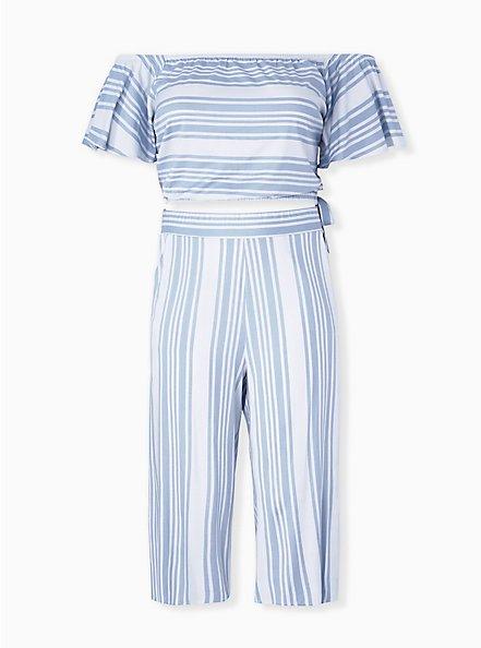 Light Blue Stripe Challis Crop Top & Culotte Pant Set , STRIPE - BLUE, hi-res