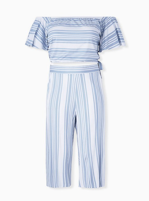 Plus Size Light Blue Stripe Challis Crop Top & Culotte Pant Set , , hi-res