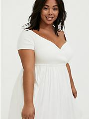 Ivory Challis Smocked Off Shoulder Skater Dress, CLOUD DANCER, alternate