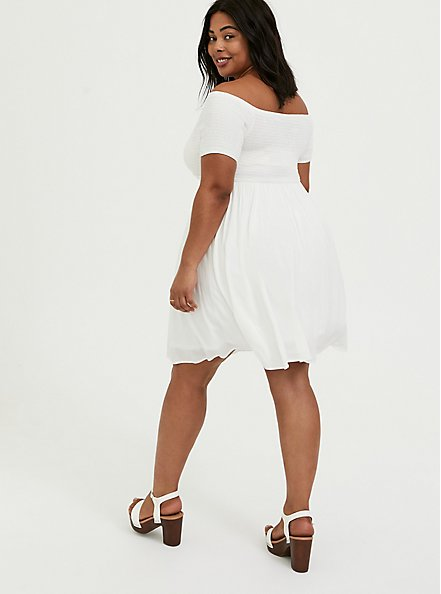Plus Size Ivory Challis Smocked Off Shoulder Skater Dress, CLOUD DANCER, alternate