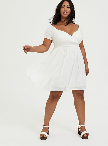 Plus Size Ivory Challis Smocked Off Shoulder Skater Dress, CLOUD DANCER, hi-res