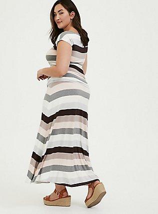 Super Soft Multi Stripe Ruched Maxi Dress, STRIPE - MULTI, alternate