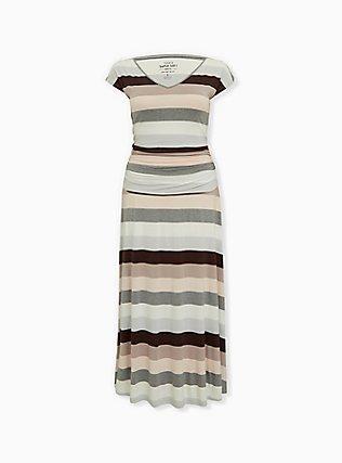 Super Soft Multi Stripe Ruched Maxi Dress, STRIPE - MULTI, flat