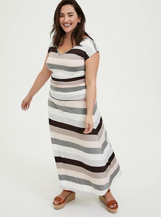 Super Soft Multi Stripe Ruched Maxi Dress, , hi-res