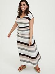 Super Soft Multi Stripe Ruched Maxi Dress, STRIPE - MULTI, hi-res