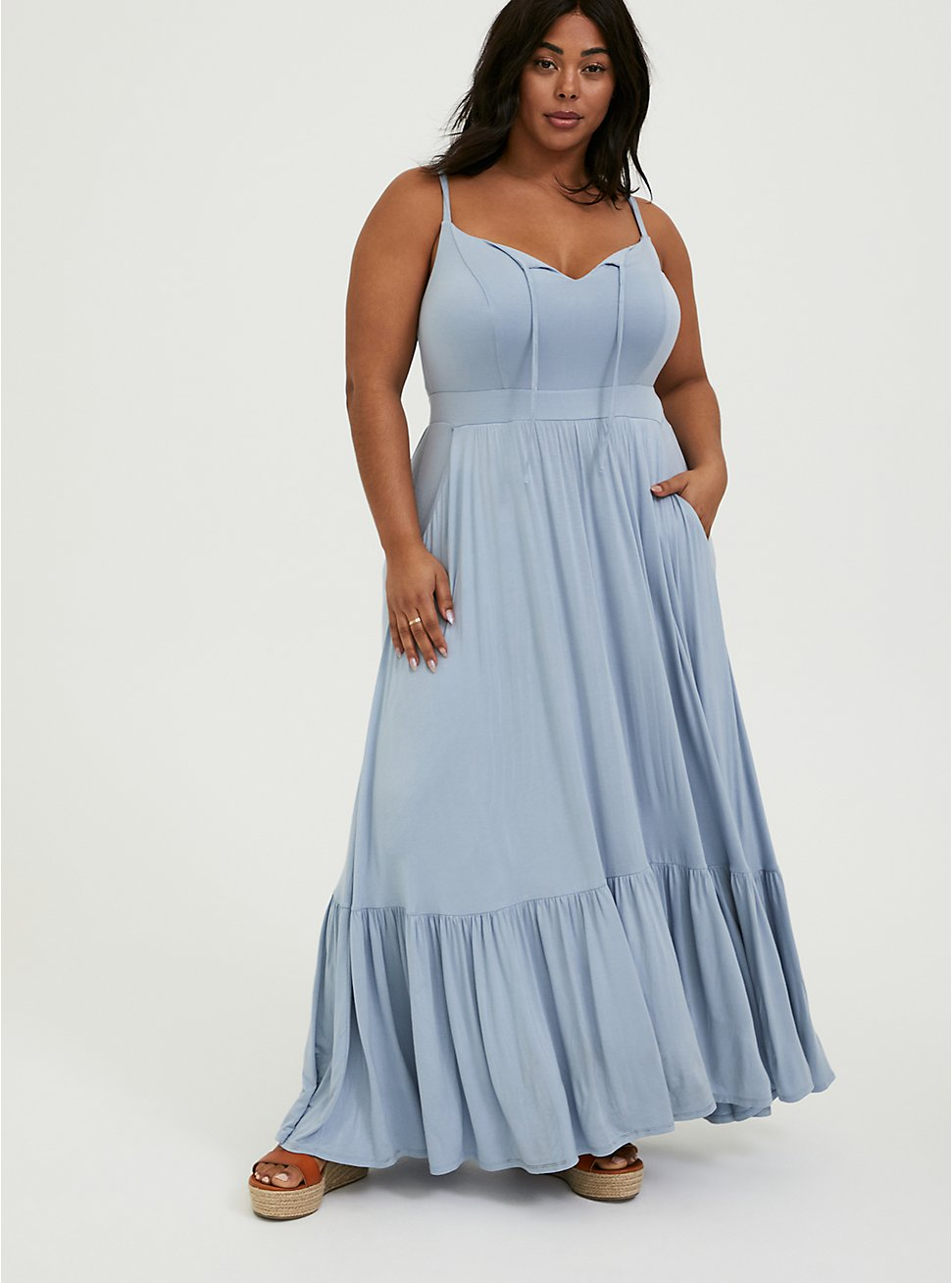 May Plus Size Style Horoscope- SUPER SOFT LIGHT BLUE SHIRRED HEM MAXI DRESS