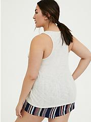 Plus Size Radiate Rainbow Stripe White Slub Sleep Tank, BRIGHT WHITE, alternate