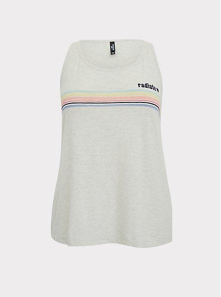 Radiate Rainbow Stripe White Slub Sleep Tank, BRIGHT WHITE, hi-res