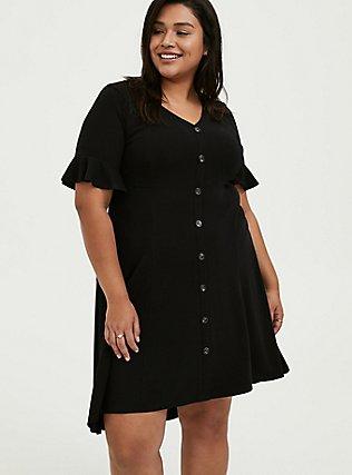 Black Rib Button Hi-Lo Dress, DEEP BLACK, alternate
