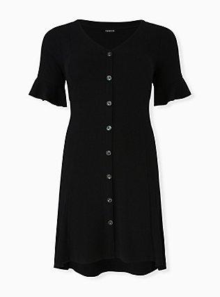 Black Rib Button Hi-Lo Dress, DEEP BLACK, flat