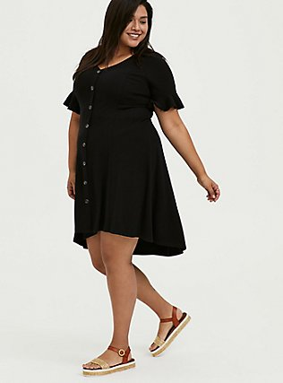 Black Rib Button Hi-Lo Dress, DEEP BLACK, hi-res