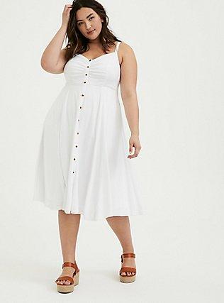 White Stretch Woven Button Midi Dress, BRIGHT WHITE, alternate
