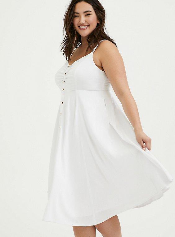 Plus Size White Stretch Woven Button Midi Dress, , hi-res