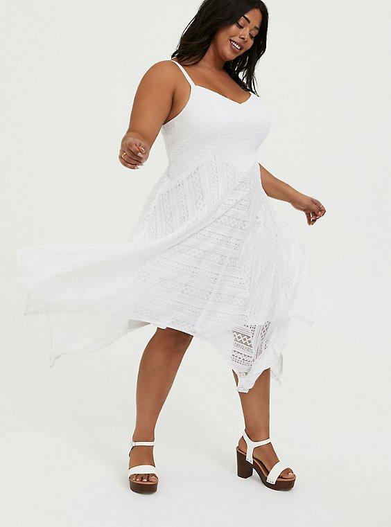 White Lace Handkerchief Skater Dress, , hi-res