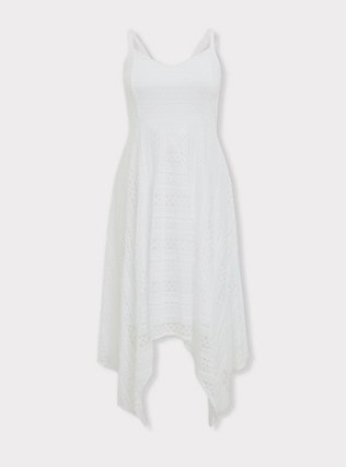 White Lace Handkerchief Skater Dress, BRIGHT WHITE, ls