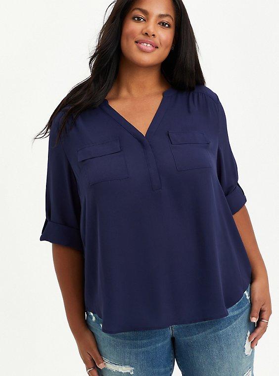 Plus Size Harper- Navy Georgette Pullover Blouse, , hi-res