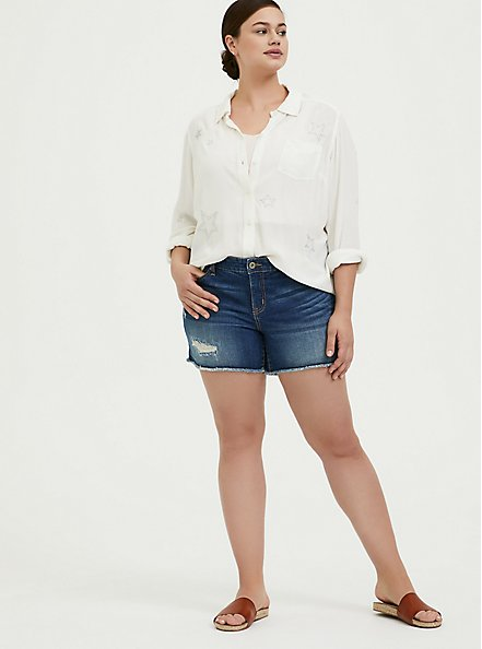 Taylor - White Gauze Embroidered Star Button Front Relaxed Fit Shirt, CLOUD DANCER, alternate