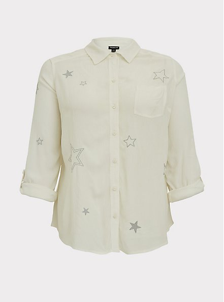 Taylor - White Gauze Embroidered Star Button Front Relaxed Fit Shirt, CLOUD DANCER, hi-res