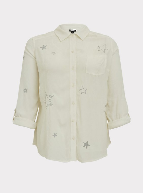Taylor - White Gauze Embroidered Star Button Front Relaxed Fit Shirt, , flat