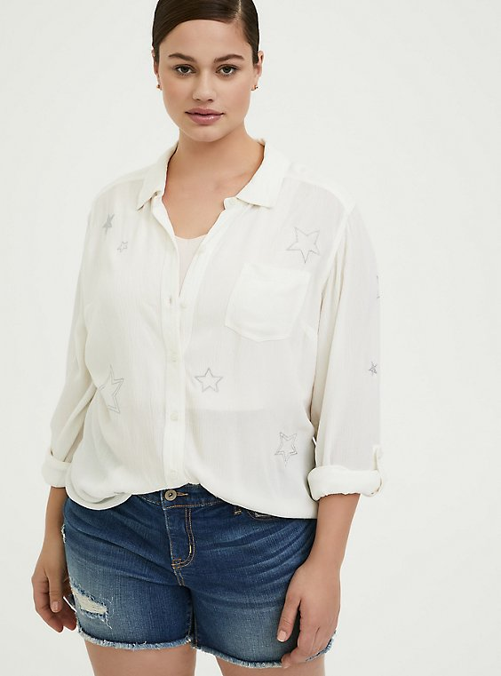 Taylor - White Gauze Embroidered Star Button Front Relaxed Fit Shirt, , hi-res