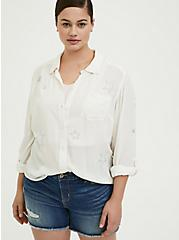 Plus Size Taylor - White Gauze Embroidered Star Button Front Relaxed Fit Shirt, CLOUD DANCER, hi-res