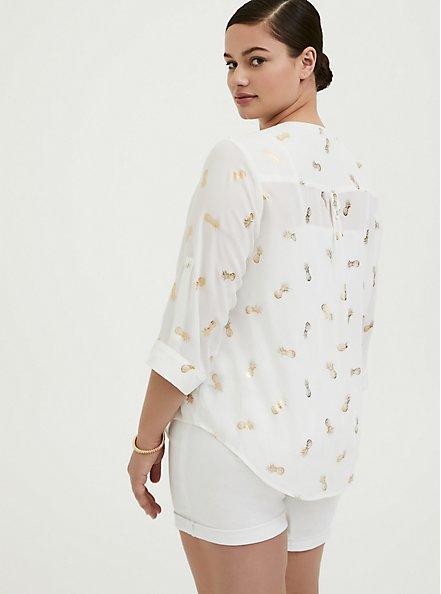 Harper - White & Gold Pineapple Georgette Pullover Blouse, MULTI, alternate