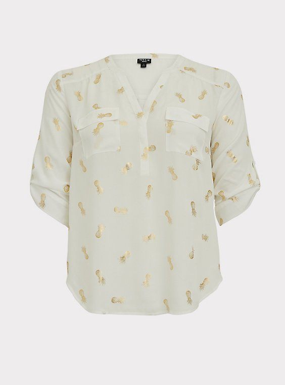 Harper - White & Gold Pineapple Georgette Pullover Blouse, , flat