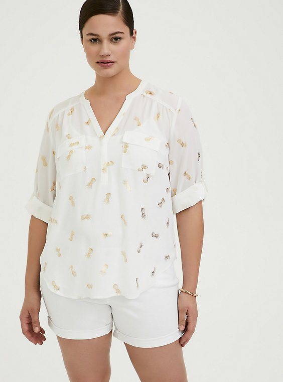 Harper - White & Gold Pineapple Georgette Pullover Blouse, , hi-res