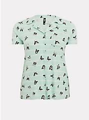 Plus Size Mint Blue Jersey Stripe & Dogs Sleep Shirt, MULTI, hi-res