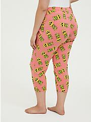 Coral Pineapple Skull Drawstring Crop Sleep Pant, MULTI, alternate
