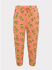Coral Pineapple Skull Drawstring Crop Sleep Pant, MULTI, hi-res