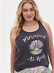 Mermaid at Heart Dark Grey Burnout Sleep Tank, DEEP BLACK, hi-res