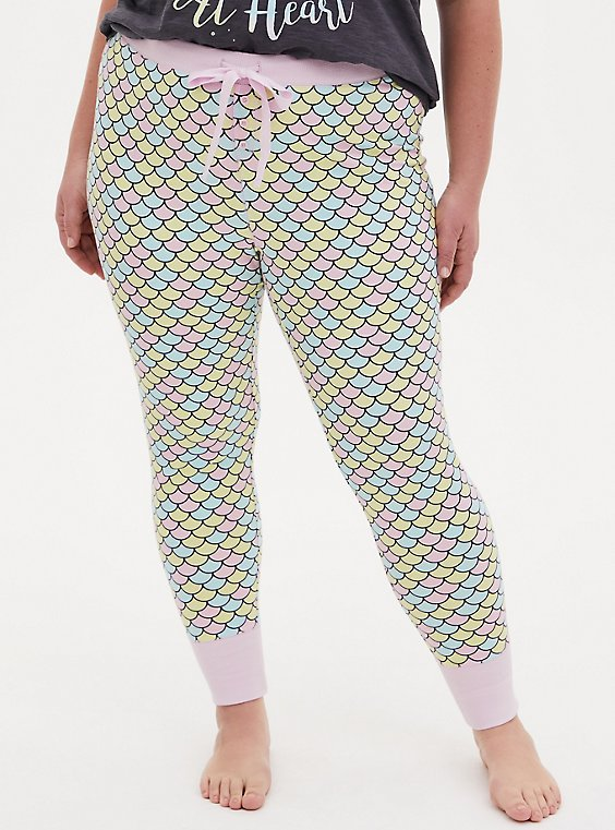 Plus Size Multi Mermaid Scale Drawstring Sleep Pant, , hi-res