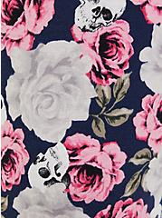 Navy Floral Skull Drawstring Crop Sleep Pant, MULTI, alternate