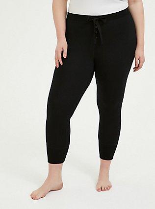 Black Crop Sleep Legging, DEEP BLACK, alternate