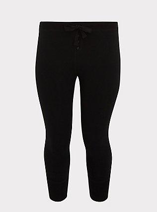 Black Crop Sleep Legging, DEEP BLACK, flat