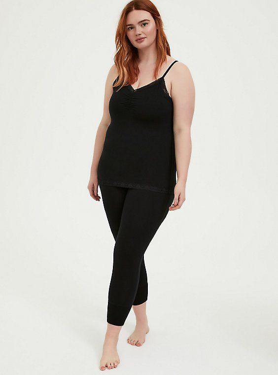 Plus Size Black Crop Sleep Legging, , hi-res