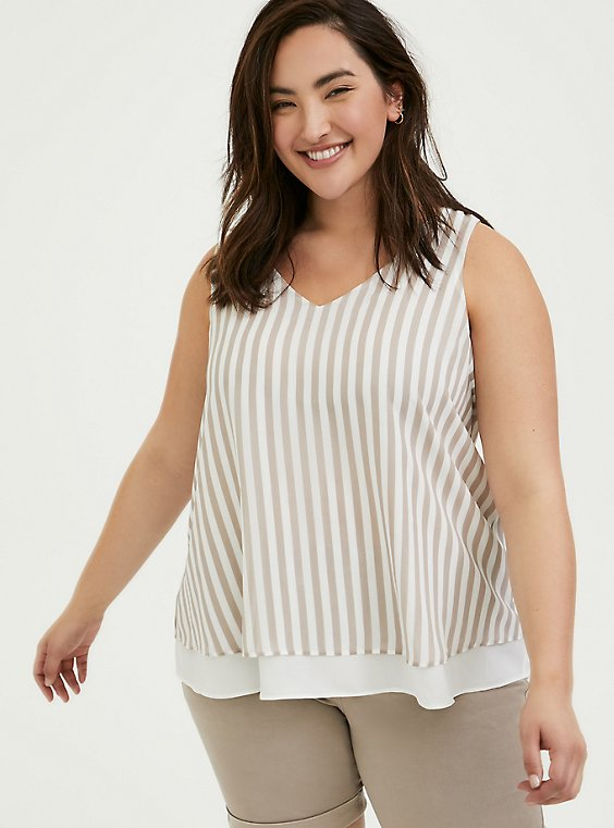 Plus Size Taupe & White Stripe Chiffon Double Layer Tank, , hi-res