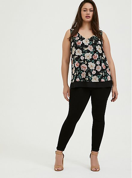 Black Floral Chiffon Double Layer Tank, MULTI, alternate