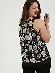 Plus Size Black Floral Chiffon Double Layer Tank, MULTI, alternate