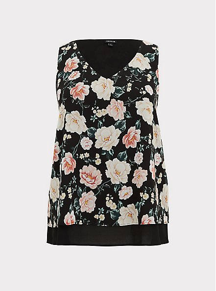 Black Floral Chiffon Double Layer Tank, MULTI, hi-res