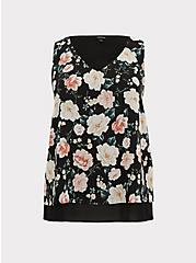 Plus Size Black Floral Chiffon Double Layer Tank, MULTI, hi-res