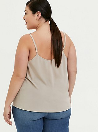 Plus Size Taupe & Black Lace Button Cami, ATMOSPHERE, alternate