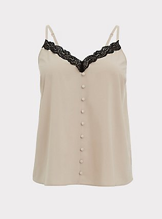 Plus Size Taupe & Black Lace Button Cami, ATMOSPHERE, flat