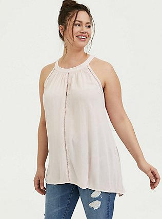 Plus Size Light Pink Crinkled Gauze Crochet Inset Goddess Tank, PEACH BLUSH, hi-res
